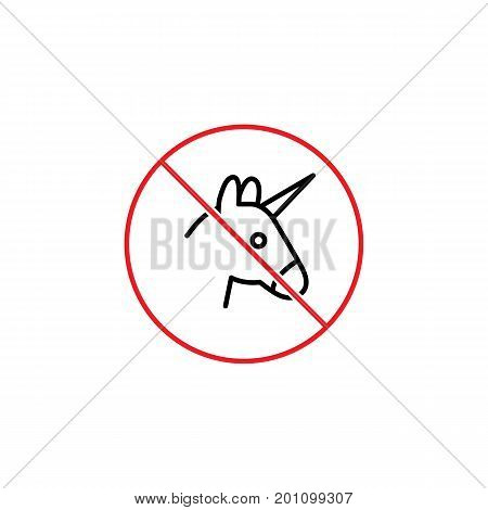 No Entry With Unicorn Humor Sign On White Background