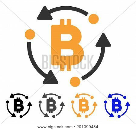 Bitcoin Rotation icon. Vector illustration style is flat iconic symbol with black, grey, orange, blue color variants. Designed for web and software interfaces.