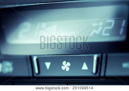 Close-up Of Air Condition Button In Modern Car