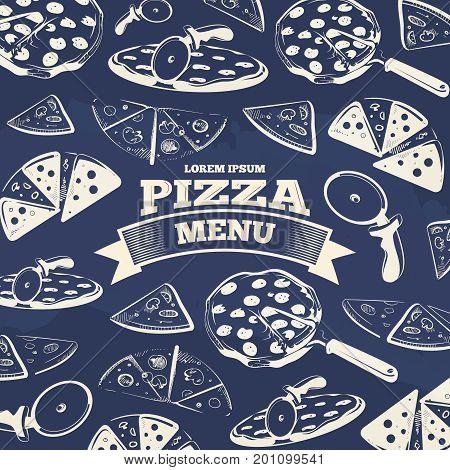 Vintage pizza menu cover design. Food design pattern for menu. Vector illustration