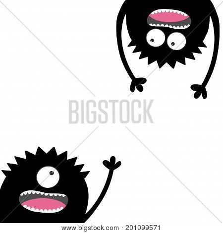 Two screaming monsters set. Head silhouette. Eyes teeth tongue hands. Hanging upside down. Black Funny Cute cartoon character Baby collection. Happy Halloween. Flat design. White background. Vector
