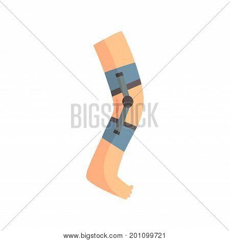 Injured leg bandaged with blue plaster cartoon vector Illustration on a white background
