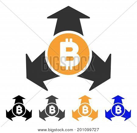 Bitcoin Spend Arrows icon. Vector illustration style is flat iconic symbol with black, gray, orange, blue color variants. Designed for web and software interfaces.