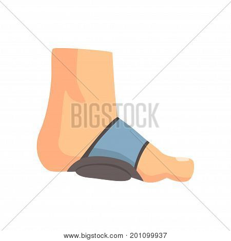 Injured foot bandaged with blue plaster cartoon vector Illustration on a white background