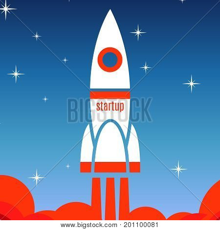 Startup concept background with spaceship. Startup business rocket, vector illustration