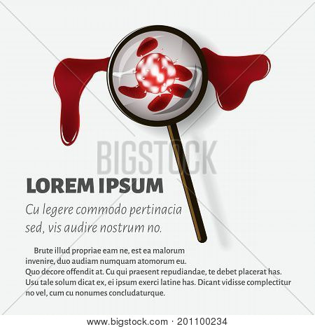 Illustration of the blood is increased under a magnifying glass for magazine advertising poster with text. Vector.