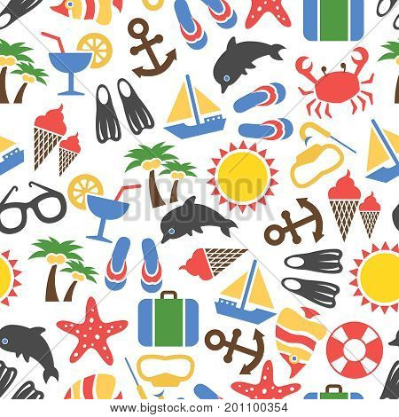 Colorful summer vacation seamless pattern - texture with sea animals, ship, sun, summer accessorises. Vector illustration