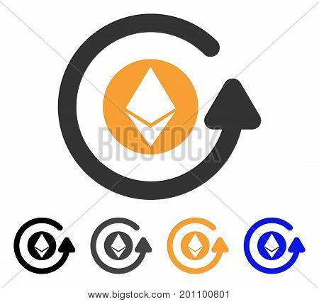 Ethereum Chargeback icon. Vector illustration style is flat iconic symbol with black, grey, orange, blue color variants. Designed for web and software interfaces.
