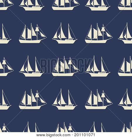 Simple sailboat or ships seamless pattern design. Ocean sailboat, vector illustration