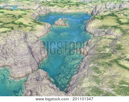Computer generated 3D illustration with an aerial view of a tarn