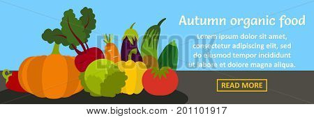 Autumn organic food banner horizontal concept. Flat illustration of autumn organic food banner horizontal vector concept for web