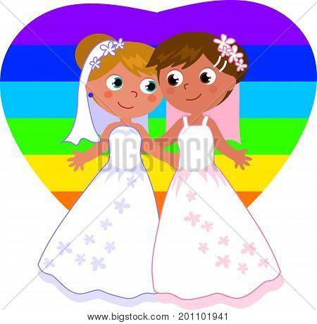 Cartoon female homosexual couple wedding vector illustration