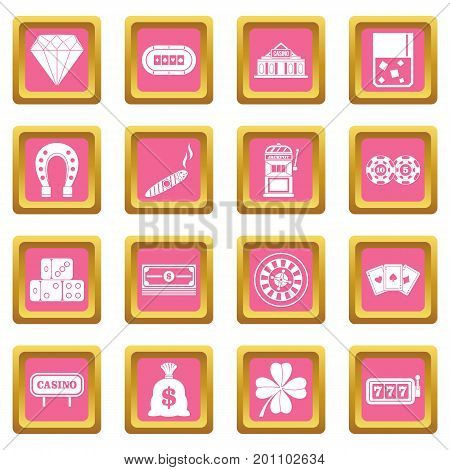 Casino icons set in pink color isolated vector illustration for web and any design