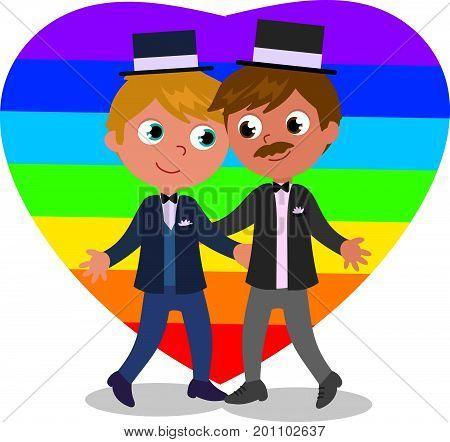 Cartoon male homosexual couple wedding vector illustration