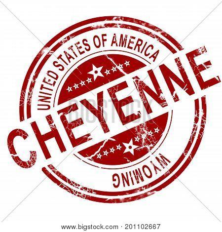 Cheyenne Wyoming Stamp With White Background
