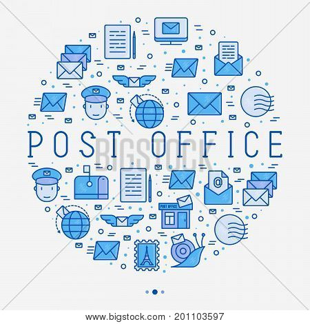 Post office concept in circle with thin line icons. Symbols of shipping, delivery, packaging. Vector illustration for banner, web page, print media.