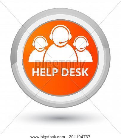 Help Desk (customer Care Team Icon) Prime Orange Round Button