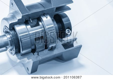 The planetary gear in transmission gear box show the inside part.Automobile part.