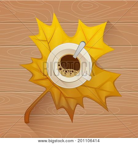 Coffee cup on the autumn fall leaves and wooden old table background. Vector Flat illustration