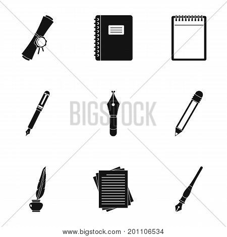 Retro pen type icon set. Simple set of 9 retro pen type vector icons for web isolated on white background