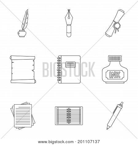 Pen tools icon set. Outline set of 9 pen tools vector icons for web isolated on white background