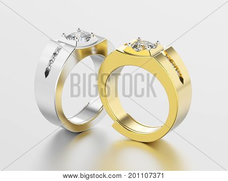 3D illustration two white gold or silver and yellow gold men signet diamond rings with reflection on a grey background