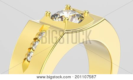 3D illustration isolated zoom macro yellow gold men signet diamond ring on a grey background