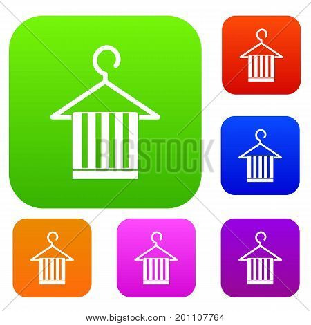 Scarf on a coat hanger set icon in different colors isolated vector illustration. Premium collection