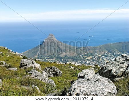 From Cape Town, South Africa, View of Lions Head from the summit of Table Mountain 01