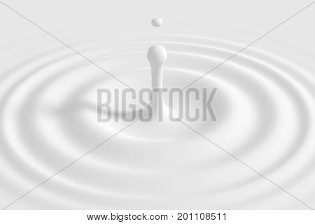 Drop falling on milk, cream, dairy product. Yogurt milkshake swirl texture. Graphic design element for packaging, advertisement flyer, poster. Cream splash with circle ripple and drop. 3d illustration