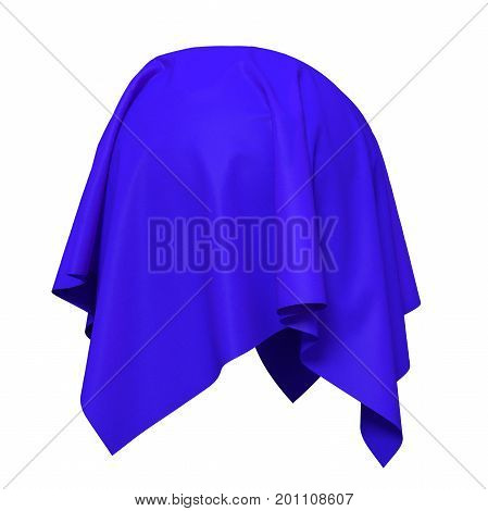 Sphere covered with blue silk fabric. Isolated on white background. Surprise, award, prize, presentation concept. Reveal the hidden object. Raise the curtain. Photorealistic 3D illustration.