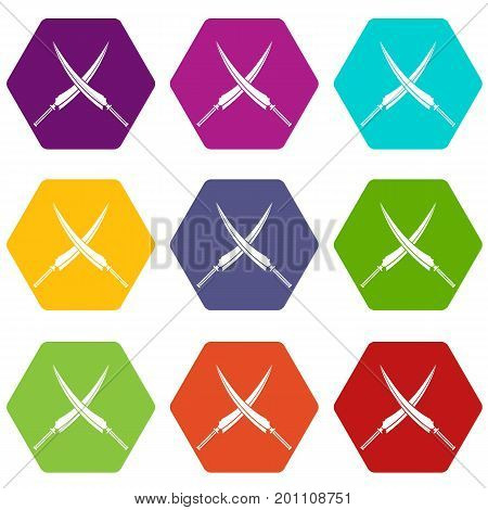 Samurai swords icon set many color hexahedron isolated on white vector illustration