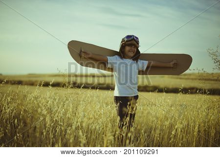 Retro, Boy playing to be airplane pilot, funny guy with aviator cap and glasses, carries wings made of brown cardboard as an airplane