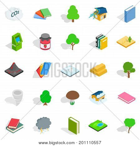 Timber icons set. Isometric set of 25 timber vector icons for web isolated on white background