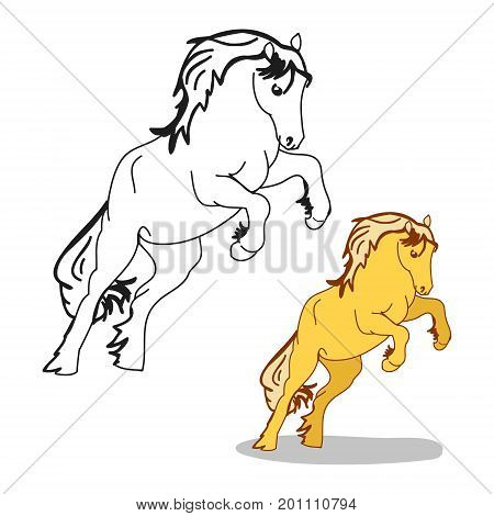 The horse stood on its hind legs the stallion galloping on white background vector illustration