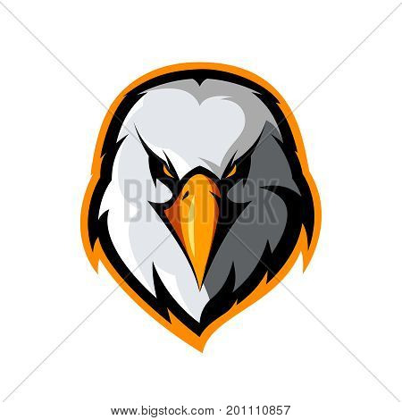 Furious eagle head athletic club vector logo concept isolated on white background. Modern sport team mascot badge design. Premium quality bird emblem t-shirt tee print illustration.