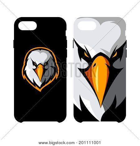 Furious eagle head athletic club vector logo concept isolated on smart phone case.Modern sport team mascot badge design. Premium quality wild bird emblem cell phone cover illustration.
