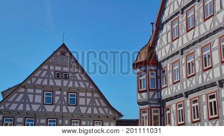 Blue Sky On Traditional German Timber Frame Houses In Waiblingen (baden-wuerttemberg