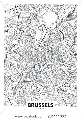 Detailed vector illustration poster city map Brussels