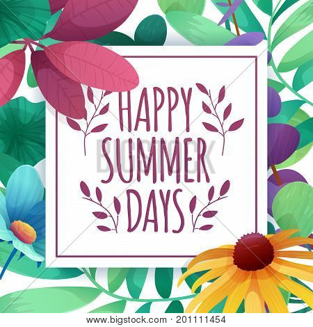 Template Design Square Banner With Happy Summer Days Logo. Card For Summertime Season With White Fra