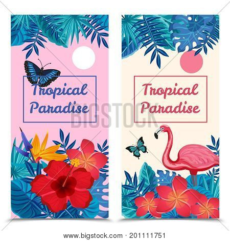 Flat design tropical paradise vertical banners set with exotic flowers flamingo and butterflies isolated vector illustration