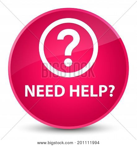 Need Help (question Icon) Elegant Pink Round Button