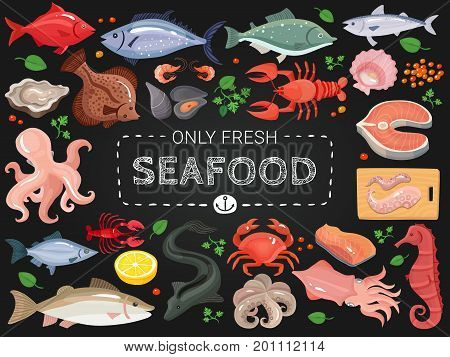 Seafood restaurant menu items colorful icons on black chalkboard with octopus salmon crab seahorse fish vector illustration
