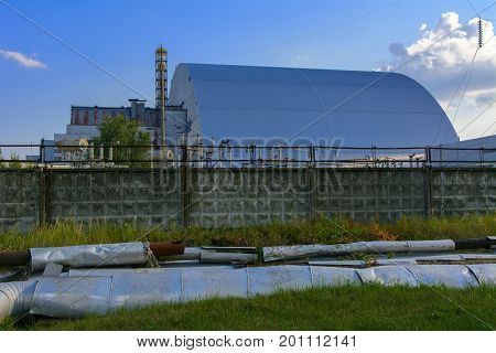 Confinement at the 4 reactor of the Chernobyl nuclear power plant. Dead radioactive zone. Consequences of the Chernobyl nuclear disaster August 2017.