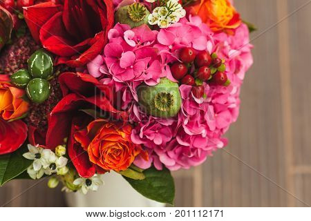 Rustic Wedding Bouquet With Orange, Crimson And Bordeaux Roses, Poppy And Other Flowers And Greens O