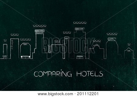 City Skyline With Different Hotel Buildings With Signs And Stars
