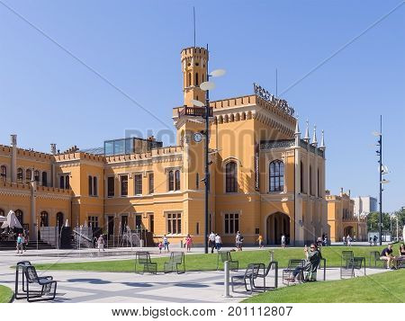 WROCLAW POLAND - AUGUST 15 2017: Wroclaw Railway Main Station With Tourists
