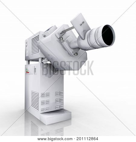 Computer generated 3D illustration with a 35mm movie projector against a white background