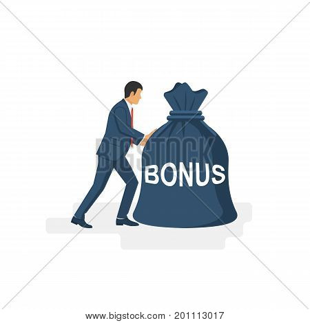 Businessman in a suit pushes a big bag of bonus. Handing awards concept. Give reward for the job. Vector illustration flat design. Isolated on white background. Bag of money in hand like a bonus.