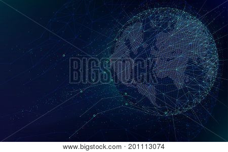 Sci-fi futuristic technologies global network with world map abstract vector infinite space background